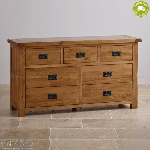 Tủ 7 ngăn kéo 3 tầng Original Rustic gỗ sồi Mỹ- đẹp, giá rẻ tại hcm và hà nội