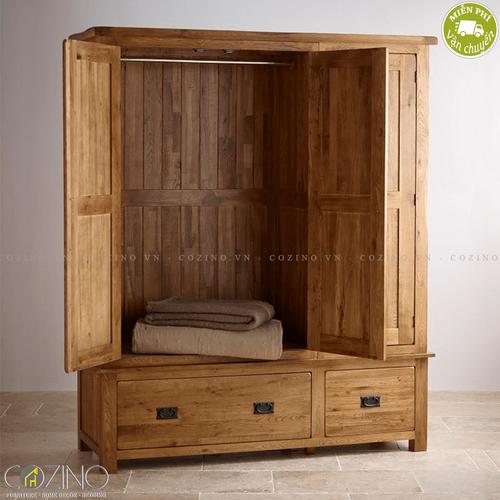 Tủ quần áo Original Rustic 3 cánh 2 ngăn kéo gỗ sồi (nhiều kích thước)- đẹp, giá rẻ tại hcm và hà nội