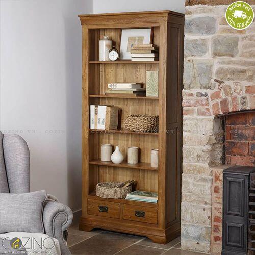 Tủ kệ sách và trưng bày cao French Farmhouse gỗ sồi Mỹ- đẹp, giá rẻ tại hcm và hà nội