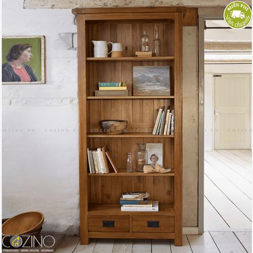 Tủ kệ sách và trưng bày cao Original Rustic gỗ sồi Mỹ- đẹp, giá rẻ tại hcm và hà nội