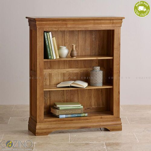 Tủ kệ sách và trưng bày thấp French Farmhouse gỗ sồi Mỹ- đẹp, giá rẻ tại hcm và hà nội