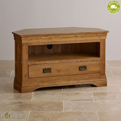 Tủ tivi góc French Farmhouse gỗ sồi mỹ- đẹp, giá rẻ tại hcm và hà nội