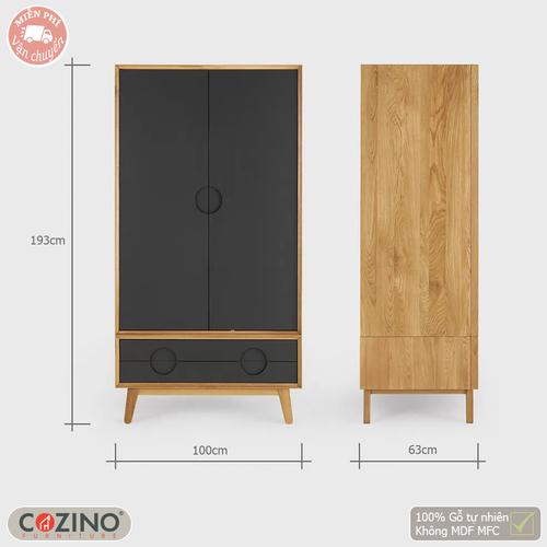 Tủ quần áo Spot 2 cánh 1 ngăn kéo gỗ sồi 80cm- đẹp, giá rẻ tại hcm và hà nội