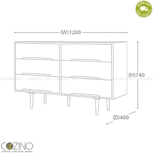 Tủ ngăn kéo 6 ngăn Iris gỗ cao su- đẹp, giá rẻ tại hcm và hà nội
