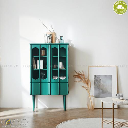 Tủ trưng bày 2 tầng Iris - Màu xanh- đẹp, giá rẻ tại hcm và hà nội