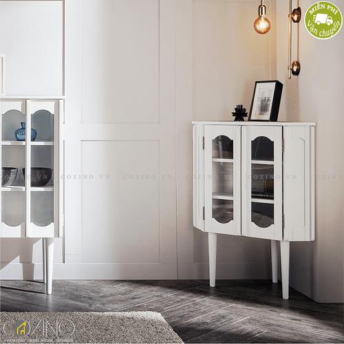 Tủ trưng bày góc Iris màu trắng- đẹp, giá rẻ tại hcm và hà nội
