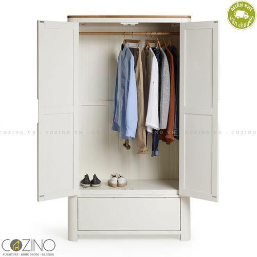 Tủ quần áo Hove 2 cánh 1 ngăn kéo gỗ sồi Mỹ 80cm (nhiều kích thước)- đẹp, giá rẻ tại hcm và hà nội